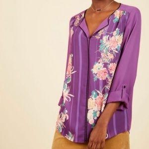 Modcloth Purple Floral Stripe Long-Sleeve Blouse